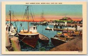Woods Hole Cape Cod MA~Sailing Yacht Viking~Harbor Scene @ Sundown~1940s Linen