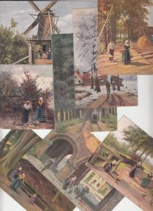 Netherlands Johan Gerstenhauer signed dutch types sceneries postcards x 8