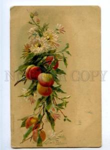 176530 EMBOSSED Aster Flowers PEACHES by KLEIN Vintage PC