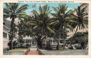 Moana Hotel, Banyan & Coconut Trees, Honolulu, Hawaii, Early Postcard, Unused
