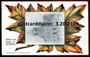 2125 - DRAYTON Ontario Postcard 1907 Town Hall. Patriotic Maple Leaf by Atkinson