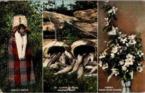 Indians of Idaho, Papoose Cradle Board Syringa Trout Vintage Postcard C63