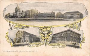 Boston Massachusetts~Multi Mini View~Art Nouveau Design~Hotel~Church~Halls~1905