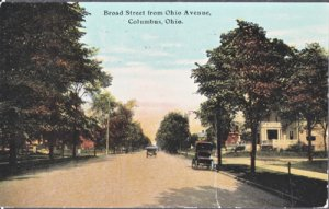 Columbus OH - Broad street seen from Ohio Avenue, early 1910s