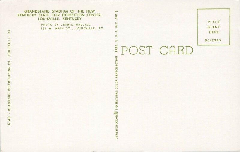 Louisville KY Grandstand Stadium Kentucky State Fair Exposition Postcard F64