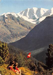 Switzerland Pontresina Am Hoehenweg mit Piz Palu Berg Mountain