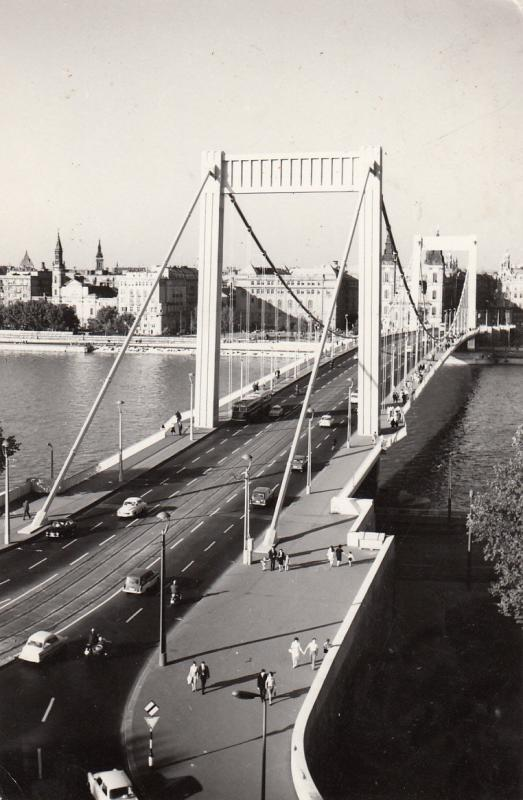 ELISABETH BRIDGE HUNGARY BUDAPEST 1970 REAL PHOTO POSTCARD
