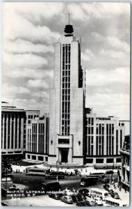 1952 Mexico City Photo RPPC Postcard EDIFICIO LOTERIA NACIONAL Street View