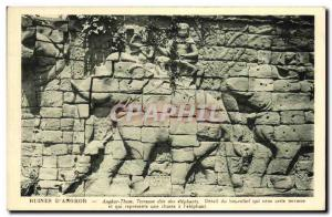 Old Postcard Ruins D Angkor Thom called Terrace of Elephants