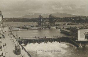 Postcard Switzerland Geneve quai des Berques et le barrage du Rhone tram bridge