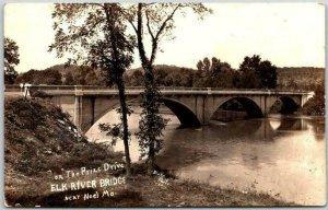 NOEL, Missouri RPPC Real Photo Postcard ELK RIVER BRIDGE On the Prize Drive