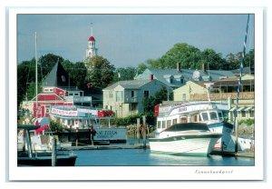 Postcard Kennebunkport, Maine ME harbor church cruises M1