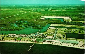Vtg Chrom Postkarte Ruskin Florida Qualität Motel Bahia Strand Unp Antenne