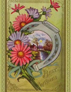 Reproduction Vintage Postcards, Set of 12 Best Wishes with Horseshoe & Asters