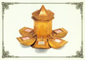 Postal History Postcard Ormolu, Hexagonal Stamp Box Compendium c1880 V65