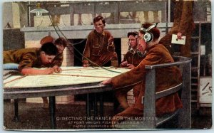 Vintage 1910s WWI Military Postcard DIRECTING THE RANGE FOR THE MORTARS Adv.