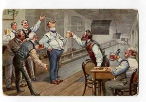 264562 Comic BOWLING Drunk Men by Arth. THIELE vintage TSN PC