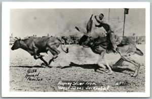 EXAGGERATED ROPING STEEL TEXAS JACK RABBIT 1941 VINTAGE REAL PHOTO POSTCARD RPPC