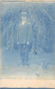 Blue Tinted Post Card Photo of a Man in a Suit and Top Hat Unused