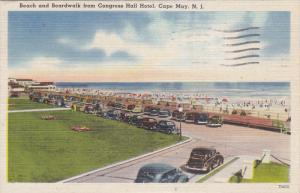 CAPE MAY, New Jersey, PU-1945; Beach And Boradwalk From Congress Hall Hotel, ...