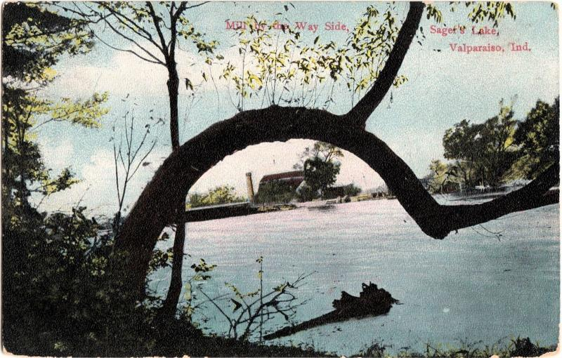 1908 VALPARAISO Indiana Ind Postcard MILL Sager's Lake TREE