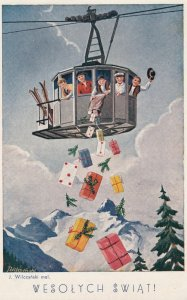 CHRISTMAS ; Wesolych Swiat! , Girls from a aerial Tram , 1940s