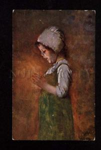 074559 Illuminated RURAL GIRL by KAULBACH vintage color PC