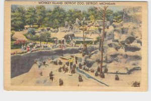 PPC POSTCARD MICHIGAN DETROIT MONKEY ISLAND DETROIT ZOO ELEPHANT IN BACKGROUND