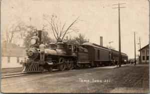 Tama IA~Railroad Depot~Train Station~Locomotive 1347~Run Stanley is On~1907 RPPC