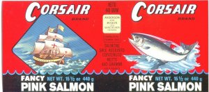 CORSAIR Brand PINK SALMON 1930s era CAN LABEL / VANCOUVER CANADA - MASTED SHIP