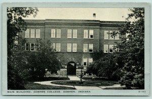 Goshen Indiana~Goshen College Campus~Main Building~Tier Fountain~Silver Border