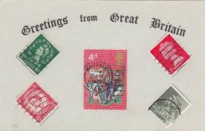 Greetings from Great Britian , Real Stamps on Postcard , 1950-70s : #4