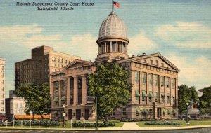 Illinois Springville Sangamon County Court House Curteich
