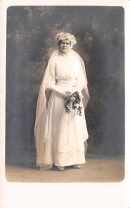 Kearney Nebraska~Anderson Studio Wedding Portrait~Victorian Bride~c1912 RPPC