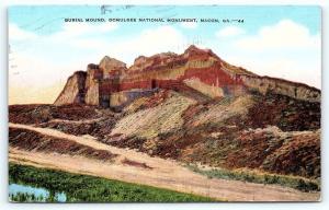 Postcard GA Macon Burial Mound Ocmulgee National Monument R18