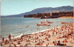 English Bay Beach Vancouver BC British Columbia Unused 1950s Postcard D63