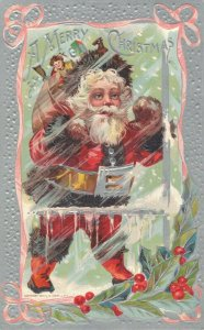A Merry Christmas - Santa Claus Embossed in Snowstorm - 04.26