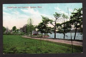 MA Crystal Lake & Cemetery GARDNER MASS Massachusetts Postcard UDB