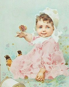 1870s-80s J P Coates Six Cord Thread Baby with Butterfly Victorian Trade Card