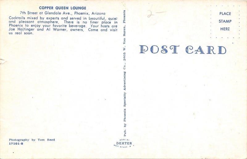 Phoenix Arizona~Copper Queen Lounge~Bartenders~Jukebox~1950s Postcard