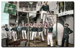 Old Postcard Army Life Marine gymnastics exercise
