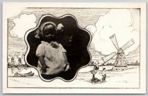 RPPC in Octofoil Portal~Dutch Windmills~Masked Border~Toddler w/ Bonnet~c1906