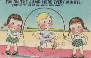 COMIC; 1930-40s; Girls swinging jump rope for a boy