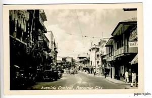 Panama City Street View Old Cars RPPC Postcard