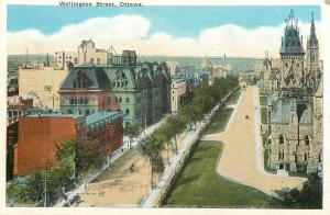 Ottawa Ontario~Birdseye Tree-Lined Wellington Street~1920s Postcard
