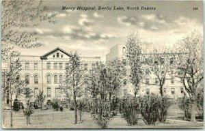 Devils Lake, North Dakota Postcard MERCY HOSPITAL Building View Tichnor Linen