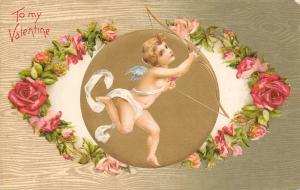 Valentine~Gossamer Cupid on Golden Rose Eye~Woodgrain Back~Emboss~Winsch 1907