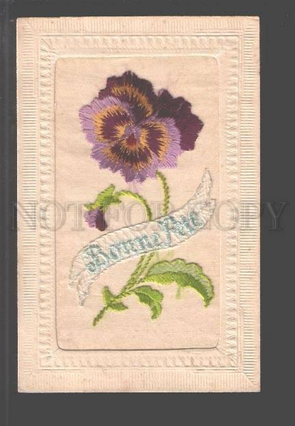 097554 EMBROIDERY Hand Made Flower PANSY Vintage RARE PC