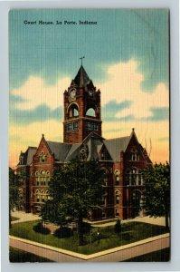 La Porte IN-Indiana, Courthouse Linen c1941 Postcard