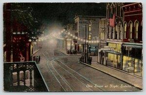Sedalia MO~Ohio Street Night Lights~Lugemann Carpets~Store Display Windows~1910